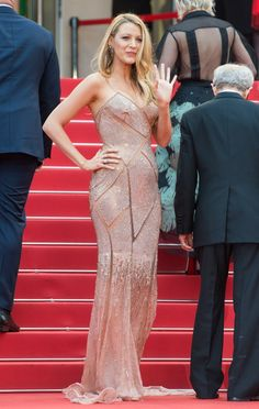 Pin for Later: Every Single Stunning Dress Blake Lively Has Worn at Cannes  For her film's premiere, Blake Lively went with movie star glamour in a sparkly cutout Versace gown.