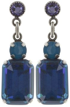 earring stud dangling To Katharine With Love II blue  14 X 10 mm