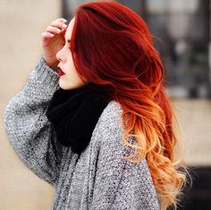 "Beautiful red hair blonde tips .... So In love with this !!! You can follow her on Instagram ""luanna90"" she's gorgeous !"
