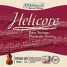 D'Addario Helicore Pizzicato Bass String Set, 3/4 Scale, Heavy Tension by D'Addario. $152.38. From the Manufacturer                Scaled to fit 3/4 size bass with a playing length of 41 3/4 inches (1060mm), heavy tension strings will allow for greater projection and volume potential.Helicore Pizzicato bass strings are multi-stranded steel core strings that produce a brighter tone quality than the rest of the Helicore bass line. The core design makes for strings that...