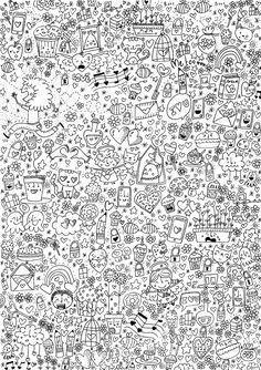 Art thérapie Saint Valentin (à imprimer..) Doodle Coloring pages colouring adult detailed advanced printable Kleuren voor volwassenen coloriage pour adulte anti-stress kleurplaat voor volwassenen Line Art Black and White