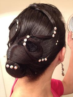 A hairdo I did for myself when I was competing both latin and standard