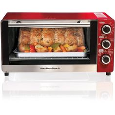 Hamilton Beach Convection Toaster/Broiler Oven, Candy Apple Red Image 1 of 4 Four A Convection, Convection Oven Cooking, Microwave Oven, 6 Slice Toaster, Toaster Ovens, Cheap Toaster, Beach Kitchens, Cool Kitchens