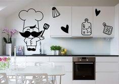 vinilo decorativo Vinilo decorativo Cocinero bigote y corazones.
