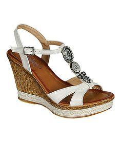 White Jean Wedge Sandal