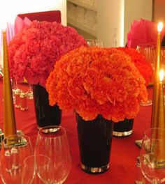 OK, I love carnations but after reading an article on another wedding site. The article stated that carnations are very cheap looking and. Tangerine Wedding, Orange Wedding Flowers, Fall Flowers, Floral Wedding, Diy Wedding, Wedding Ideas, Wedding Things, Wedding Planning, Dream Wedding