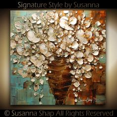 Susanna Shap ORIGINAL White Flowers Oil Painting Heavy by ModernHouseArt..love her technique/style