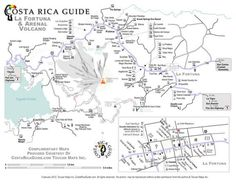 Detailed printable map of La Fortuna and the Arenal Volcano/Lake region