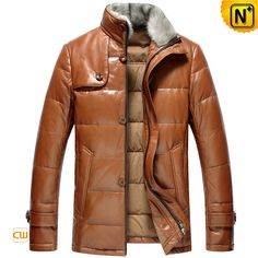 www.cwmalls.com PayPal Available (Price: $568.89) Email:sales@cwmalls.com; Mens Down Filled Leather Parka Jacket with Fur CW860028 Generous down filled coat with fur collar featuring soft down filled and removable mink fur collar, this genuine leather parka coats have black and brown color available.