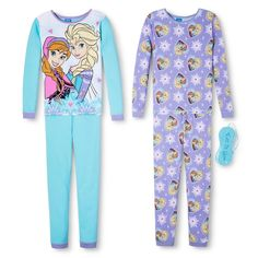 Disney Frozen Girls' 4-Piece Long-Sleeve Pajama Set - Purple 10, Girl's, Multi-Colored
