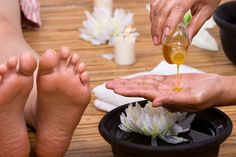 Reflexology is a pressure therapy given on the feet(or hands), where all the structures and organs of the body are reflected in miniature. Description from therapy4life.net. I searched for this on bing.com/images
