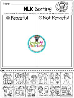 January NO PREP - Math & Literacy Printables (Kindergarten) - Check out these January Printables: Includes a MLK sort that is great for Kindergarten and First Gr - Kindergarten Social Studies, Kindergarten Classroom, Kindergarten Activities, Classroom Activities, Activities For Kids, Preschool, Martin Luther King, Math Literacy, Literacy Centers