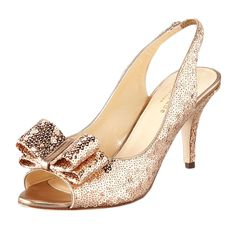 """Brides.com: . Kate Spade """"Sawyer"""" mini sequin slingback pump, $328, available at Neiman Marcus  See more retro wedding accessories."""