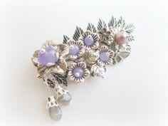 Floral pin brooch leaf brooch gemstones by MalinaCapricciosa