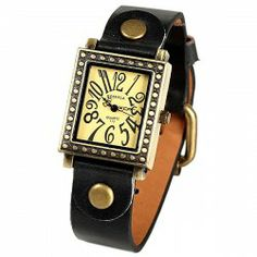 $4.35 Rosivga Quartz Watch with 12 Numbers Hour Marks Copper Case Leather Watchband for Women