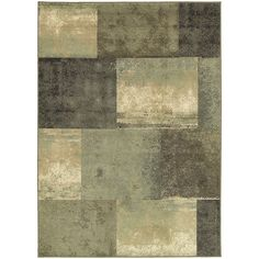 "Oriental Weavers Scrapbook Blocks Green/Brown Synthetic Fiber Area Rug (3'3 x 5'5) (3'3"" X 5'5""), Size 3'3 x 5'3 (Polypropylene, Color Block)"