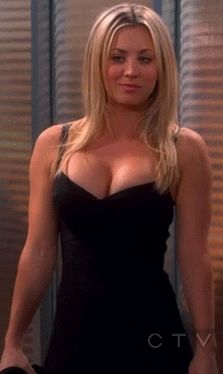 Kaley Cuoco sassy little wiggle in a low cut little black dress ~ GIF