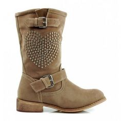 Boots with Heart Brown Biker, Brown Boots, Autumn, Shoes, Heart, Women, Fashion, Fall, Zapatos