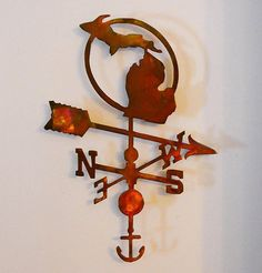 Metal Michigan Weathervane Wall Art with by TheMightyMitten, $69.00
