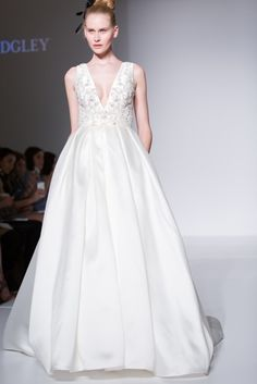 Deep V Dramatic Bridal Gown by Sottero and Midgley for Spring 2017 Bridal Fashion Week Photo by Jessica Haley