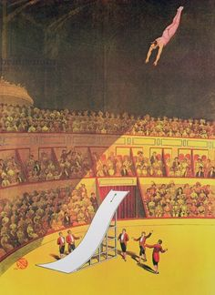 Circus high diver, 1914 (colour litho), German School, (20th century) / Private Collection / Peter Newark Pictures / Bridgeman Images
