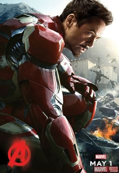 """Tony Stark arrives in a brand new poster for Marvel's """"Avengers: Age of Ultron""""! Check out Iron man new poster above before seeing the film when it hits theaters on May 1, 2015."""