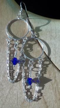 Cobalt Blue Swarovski dangle earrings