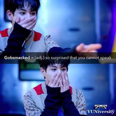 """""""Gobsmacked"""" (not """"Godsmacked"""") is a cool slang word that means 'so surprised or shocked that you cannot speak.' For example """"Yoseob from Highlight was gobsmacked when he finally beat the video game.""""  #vocabulary #slang #gobsmacked #kpop #highlight #yoseob #plzdontbesad #esl #efl #learnenglish"""