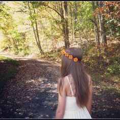 Taking the road less traveled. Thst nsrrow path.... Wearing the newly listed orange rose crown. Available in my etsy shop. Link in my bio.  #love #beautiful #beauty #autumn #roadtrip #flowercrown #wedding #latepost #travel #wanderlust #wander #gypsy #goodvibes #instagood #fallfoliage #vscocam #fall #leaves #hippie #trees  #vsco #boho #follow #dirtroad #instamood #goodvibesonly #positivity #highsociety #nature #foliage