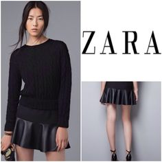 """ZARA  Black Pleated Faux-Leather Trim Skirt This Zara skirt is very well made in Spain, fully lined, waistband with double button closure with hidden back zipper, pleated with faux- leather trim.. Length:17.5"""", waist:30"""", Hips:37"""" Zara Skirts"""
