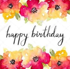 77 best hawaiian birthday greetings images on pinterest happy vector red and yellow anemones watercolor flowers with happy birthday calligraphy text m4hsunfo