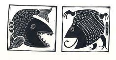 """Maya"" serie of linocuts (2012) by Katerina Churakova, via Behance"