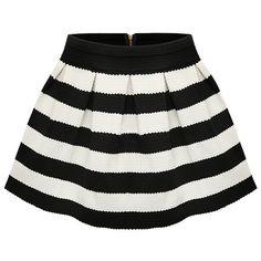 SheIn(sheinside) Black Apricot Stripe Flare Zip Skirt (36 BRL) ❤ liked on Polyvore featuring skirts, sheinside, saias, bottoms, black, flare short skirt, striped short skirt, flared skirt, zip skirt and stripe skirt