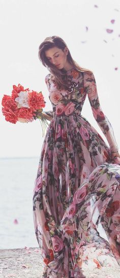 Gorgeous floral bridesmaid or bridal dress