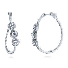 Sterling Silver Round CZ Halo Inside-Out Hoop Earrings