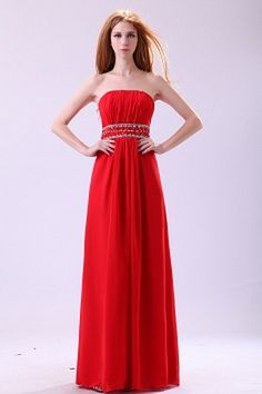 Red A-line Strapless Floor-length Chiffon Prom Dress With Beading - Cheap Formal Dresses, Cheap Homecoming Dresses, Strapless Dress Formal, Bridesmaid Dresses, Wedding Dresses, Red Evening Gowns, Evening Dresses Online, Designer Evening Dresses, Prom Dress 2014