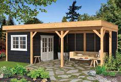 Houthandel Gadero presenteert overkappingen van Lariks Douglas hout met plat dak en fraaie zwarte wanden en witte ramen.   Diverse afmetingen! Kant en klare sets.
