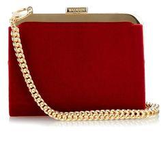 Balmain Gold plated-frame velvet clutch ($936) ❤ liked on Polyvore featuring bags, handbags, clutches, purses, red, velvet purse, chain strap purse, balmain, man bag and balmain purse