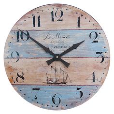 Wall Clock with Driftwood Effect - We have designed this clock, with it's ship motive to have a driftwood appearance. La mouette means 'seagull' in French. Nautical Clocks, Nautical Theme Decor, Nautical Home, Rustic Wall Clocks, Seaside Home Decor, Coastal Decor, London Clock, Kitchen Wall Clocks, Wall Clock Online