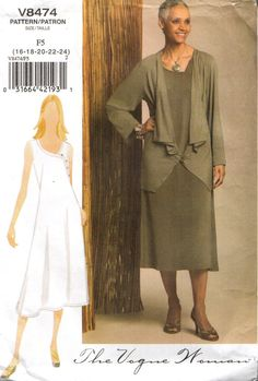 Vogue 8474 Dress & Jacket THE VOGUE WOMAN Size 16-24 Francais and English Instructions