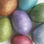 Disco egg – dye a blown egg. Dilute craft glue with equal parts water and glue and cover the egg. Roll it in superfine glitter and let it dry