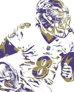 Lamar Jackson Baltimore Ravens Pixel Art 1 Art Print by Joe Hamilton. All prints are professionally printed, packaged, and shipped within 3 - 4 business days. Choose from multiple sizes and hundreds of frame and mat options. Lamar Jackson Ravens, Joe Hamilton, Football Art, College Football, Raven Art, Baltimore Orioles, Baltimore Maryland, Thing 1, Sports Art