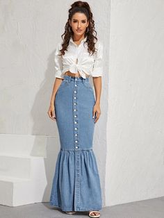 To find out about the Button Front Fishtail Hem Denim Skirt at SHEIN, part of our latest Denim Skirts ready to shop online today! Skirt Outfits, Dress Skirt, Modest Dresses Casual, Modest Clothing, Modest Outfits, Girls Dresses, Beautiful Long Dresses, Fishtail Dress, Jeans Rock