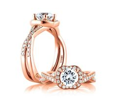 Exquisite rose gold diamond engagement ring with halo by @A. JAFFE 1892 E