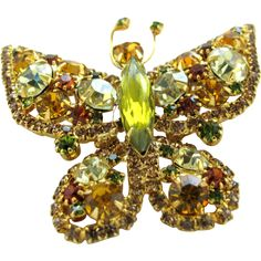 30% off Ruby Lane Red Tag Sale July 19-21st only! Yellow Rhinestone Butterfly Pin