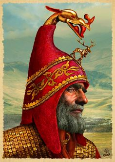 """Headpiece of the leader of the """"Kamensk"""" culture based on excavations of the burial ground of Lokot 4 (Altai IV century BC). Historical Artifacts, Ancient Artifacts, Ancient Rome, Ancient History, Ancient Persian, Classical Antiquity, Character Portraits, Male Portraits, Historical Architecture"""