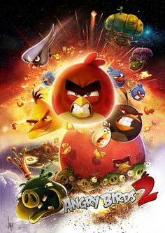 Commissioned to create an epic film-poster-style illustration to launch alongside the release of Rovio's sequel to Angry Birds. Angry Birds 2016, Angry Birds 2 Game, Bird Wallpaper, Cartoon Wallpaper, Angry Birds Characters, Free Poster Printables, Bird Poster, Flightless Bird, Cartoon Background