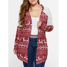 16.05$  Watch here - http://dih15.justgood.pw/go.php?t=201768310 - Plus Size Lace Trim Tribal Cardigan 16.05$