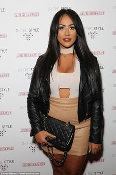 Biker chic: Sophie Kasaei looked in good spirits as she attended In The Style's bash at Dstrkt London on Thursday Nude Skirt, Charlotte Crosby, Lace Playsuit, Geordie Shore, Party Scene, Biker Chic, Good Spirits, Lip Fillers, Gal Pal