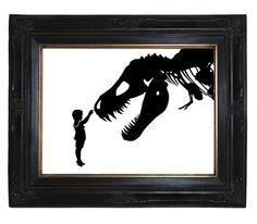 Silhouette Boy with T-Rex Dinosaur pet tyrannosaurus rex skeleton ...